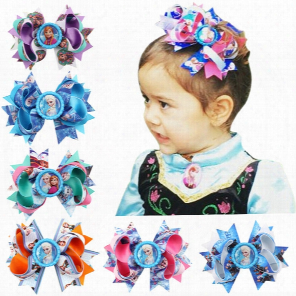 Fashion Baby Girls Barrettes Frozen Queen Elsa Kids Cartoon Cosplay Party Accessories Hairpins Boutique Hair Clips