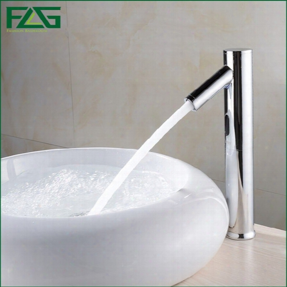 Flg Hands Touch Free 100%brass Automatic Sensor Faucets Deck Mounted Chrome Polished Water Mixer Sense Faucet Basin Hand Washer