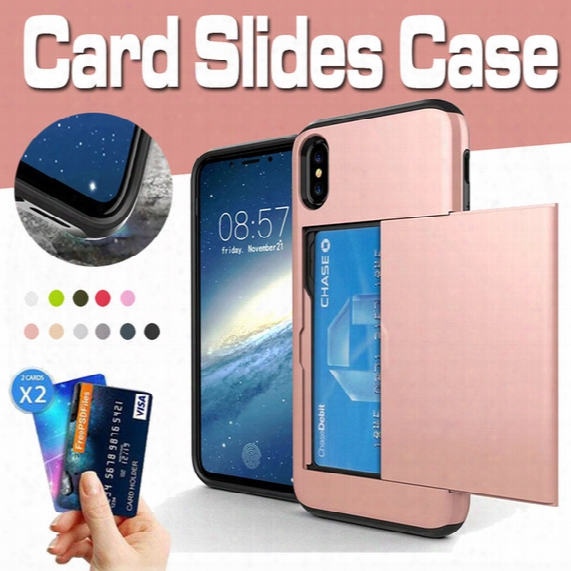 For Iphone X Slide Card Slot Wallet Case Hybrid Pc+tpu Armor Dual Layer Protective Cover For Iphone 8 7 Plus 6 6s Samsung Note 8 S8 S7 Edge