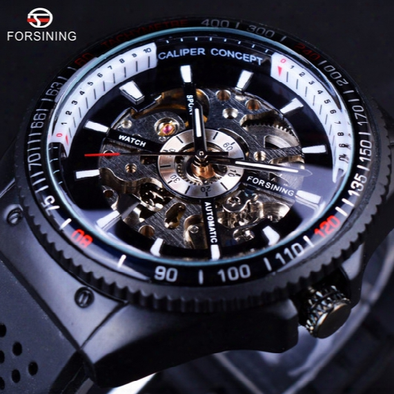 Forsining 2017 Rotating Bezel Silicone Band Sport Design Men Watches Top Brand Luxury Automatic Black Fashion Clock Casual Watch