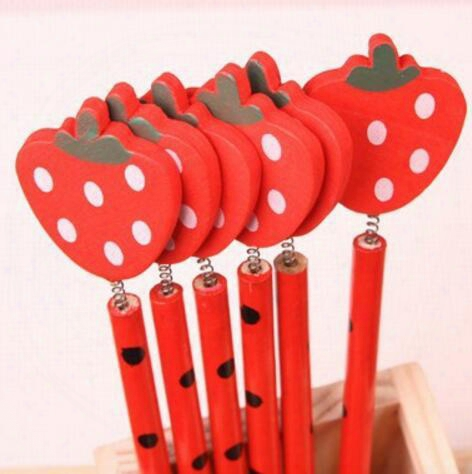 Free Ship 100pcs 18cm Korea Wooden Pencil 3d Cartoon Strawberry Novelty Office School Pencil Kids Student Pencil Gift