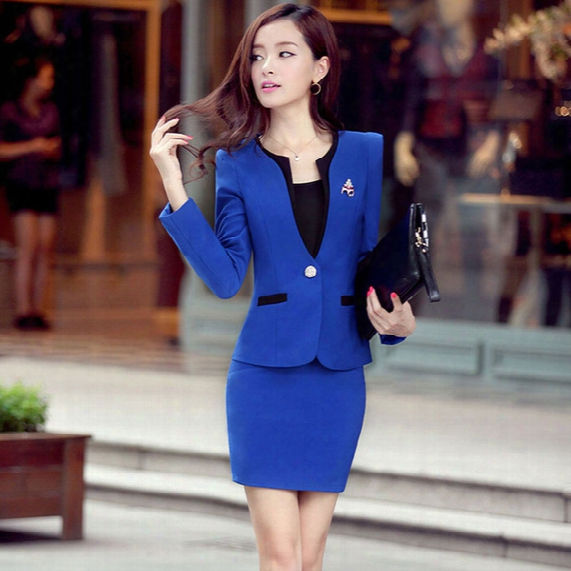 Hot Sale Spring Fall Professional Women's Dress Suit Female Uniform Ol Skirt Career Business Suits Free Shipping
