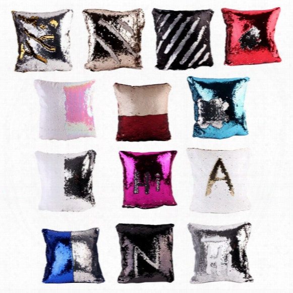 Ins Mermaid Xmas Sequin Pillow Case Cover Sequins Pillowslip Glow Pillow Case Cushion Cover Home Sofa Car Decor Bright Pillow Covers
