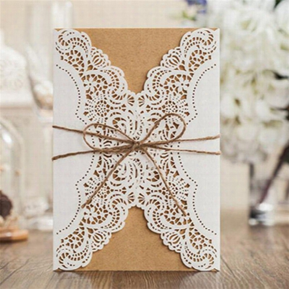 Lace Inviting Card Laser Cut Paper Envelope Event Party Supplies Accessories Decoration Fashion Romantic Wedding Invitation