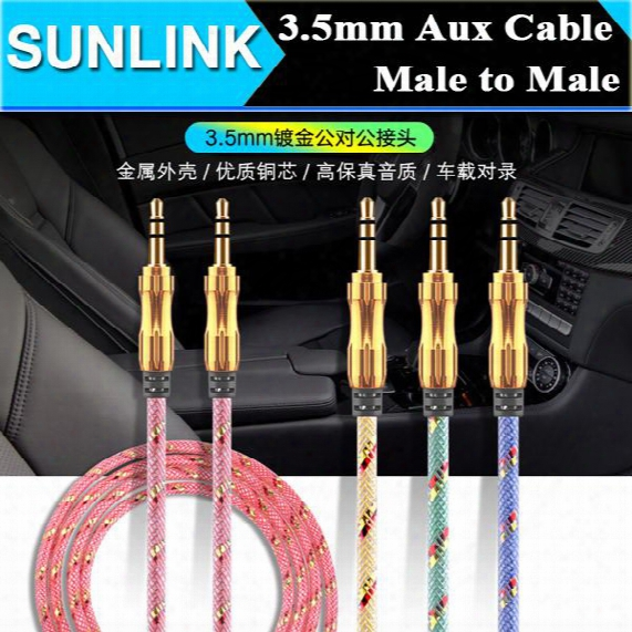 Luxury 3.5mm 1m 3ft Braided Aux Audio Cable Cucurbit Auxiliary Cable Male To Male Stereo Car Extension Audio Cable For Mp3 Car Phone