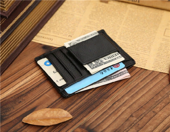 Money Clip Leather Wallet Clamp For Money Design Men Brand Leather Clip Against Money Credit Card Holder Moq 3 Piece