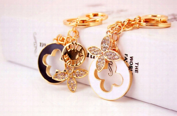 Novelty Items Beads Key Chain Heart Keychains Tassel Four Leaf Clover Flower Car Key Rings Womna Bag Charms Drop Shipping 2219