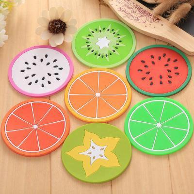 Silicone Fruit Jellylike Dining Coaster Kitchen Table Placemats Heat Insulation Bar Mag Cup Mats Pads Lemon Orange Pitaya Carambola B1270