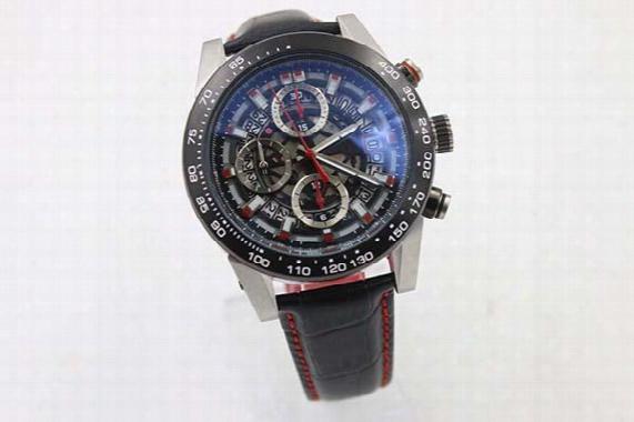 Tachymetre Quartz Three Zone Transparent Dial Men's Watch Phantom Glassface Red Case Platinum Skeleton Black Fabric Belt Car5a51 Male Watch