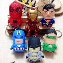 avengers Captain America Superman Batman,Green Lantern,spider-man,Iron Man LED sound light keychains flashlight kids toys cartoon