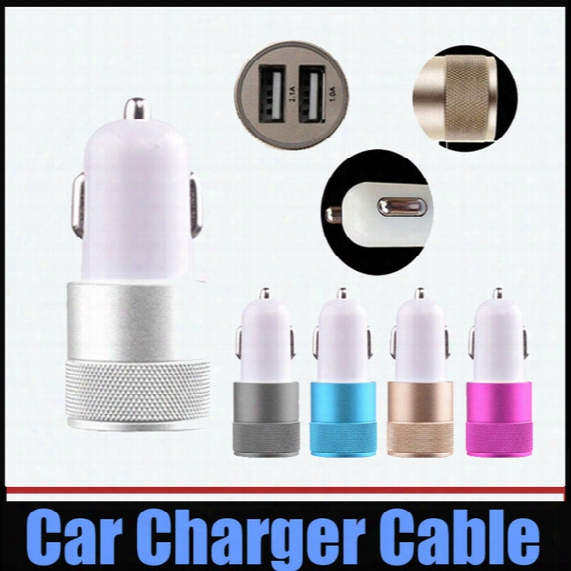 Universal Car Charger Metal Aumium Alloy Dual Usb Port Car Charger 2.1a+1a For Iphone 4s 5 5s 6s Plus Ipad Mini Galaxy S5 S6 Htc Lg 100pcs