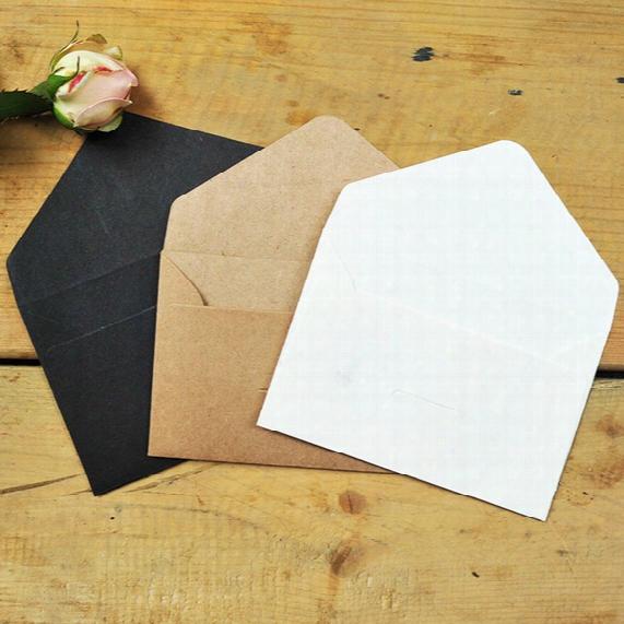 Wholesale- 10pcs/lot 6.7*10.5cm Mini Vintage Greeting Card Envelope Kraft/white/black Paper Envelope 3 Design Gift Invitation Envelope