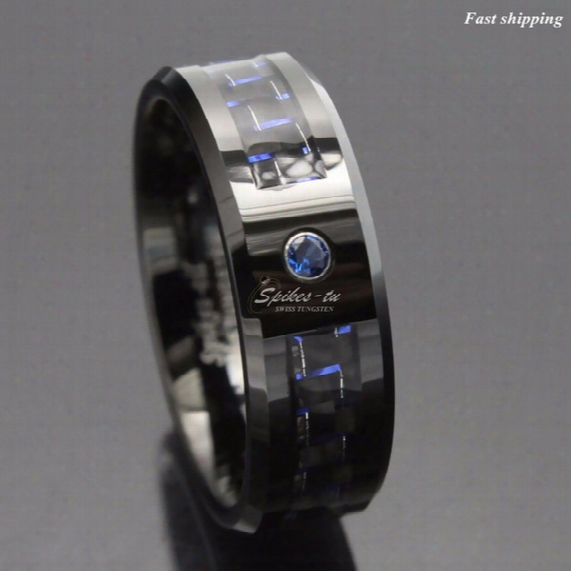 Wholesale-black And Blue Carbon Fiber Tungsten Ring Blue Mens Jewelry Wedding Band Free Shipping