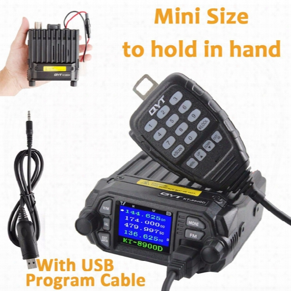Wholesale- Qyt Kt-8900d 25w Vehicle Mountted Two Way Radio With Programming Cable Upgrade Kt-8900 Mini Mobile Radio With Quad Band Large Lcd