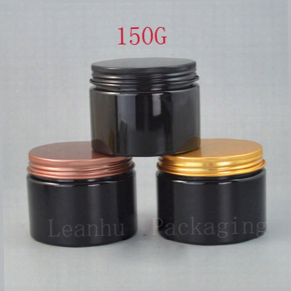150g Black Refillable Cream Jar Solid Perfumes Makeup Container Aluminum Screw Cap,homemade Beauty Skin Care Packing Containers