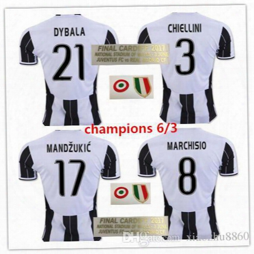 16 17 Champions League Final Cardiff Reals Madrids Vs Juv Soccer Jersey 2016 2017 Higuain Mandzukic Dybala Chiellini Buffon Football Shirt