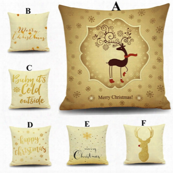 2016 Merry Christmas Style Pillow Case Christmas New Year Gift Reindeer Letter Pillow Cases Sofa Pillow Car Cushion Covers