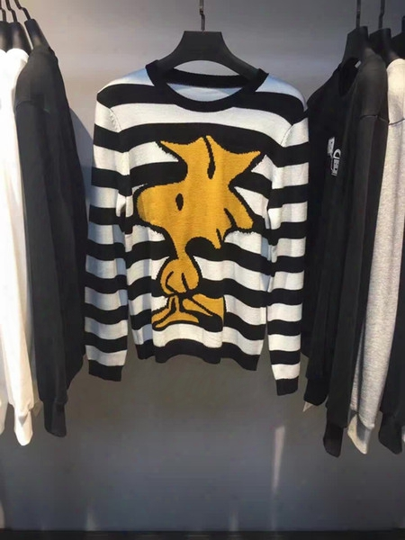 2016 New Autumn Fashion Brand Casal Sweater Cotton Snoopy Bird Cartoon Stripes Mens Women Sweaters Pullover