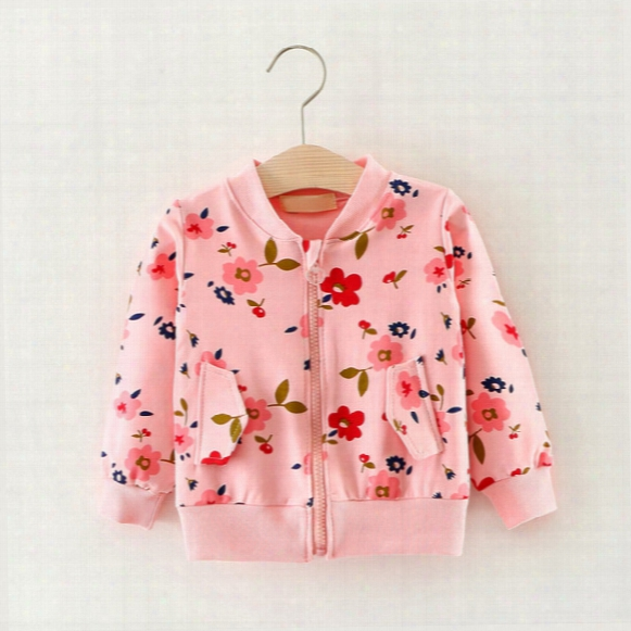 2017 Autmn Cotton Zipper Coat Baby Girls Clothing Children Flower Printed Coat 3 Colors Trista