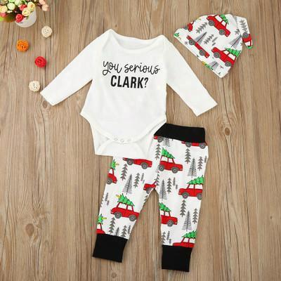 2017 New Children Christmas Sets Baby Girl Boy Car Printing Long Sleeve Romper +long Pants+hat 3 Pcs Sets Ins Baby Xmas Clothing