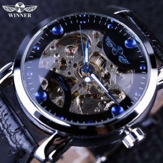 2017 New!winner Black Skeleton Designer Blue Engraving Clock Men Leather Strap Mens Watches Top Brand Luxury Automatic Watch Montre Homme
