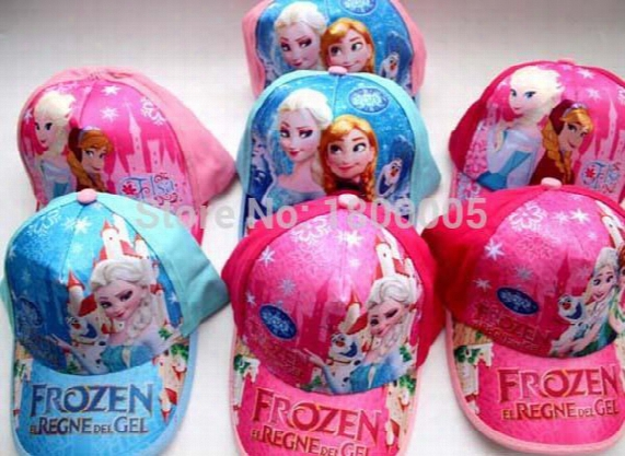 20pcs Summer New Arrival Hot Cute Cartoons Mixed Anna Elsa Violetta Hello Kitty Princess Children Hats Kid Girls Sun Caps
