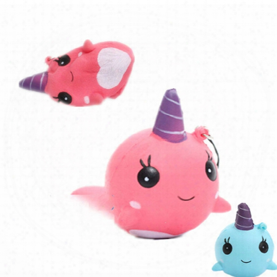 30pcs/lot New Kawaii Cute Squishy Pink Blue Whale Millie Cartoon Collectible Squeeze Elasticity Stretch Vent Bread Cake Kid Toy Gift