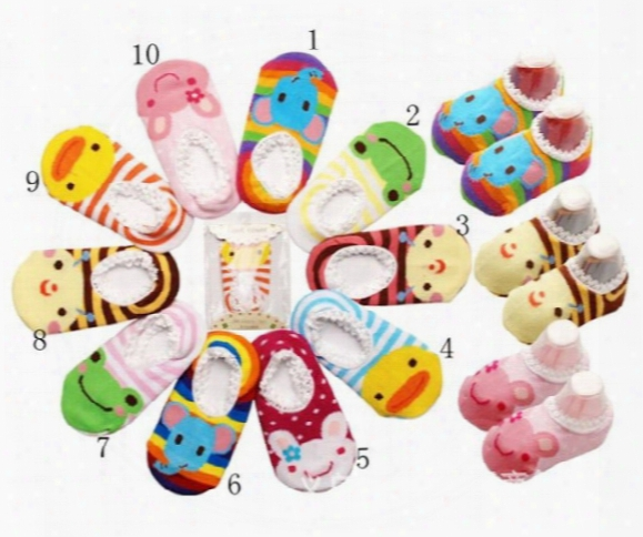 Baby Boat Socks Children's Shoes Antiskid Non-slip Bottom Cartoon 9-15cm Kids Toddle Socks 50pair/l Free Sihpping