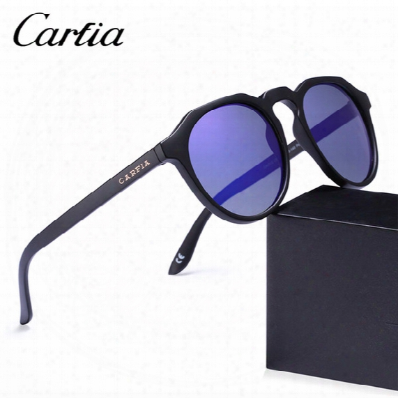 Brand Unisex Retro Oval Sunglasses For Men Polarized Mirror New Frame Fashion High Quality Tr90 Men / Women Sunglasses Carfia 4312 With Box