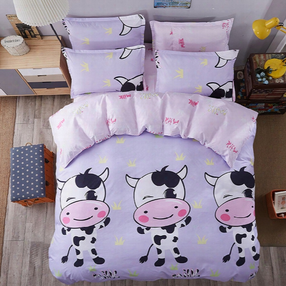Cute Cow Bedding Sets Cartoon Comforter Set Single Double Queen King Size 4pcs Bedding Duvet Cover Sheet Set Bedlinen Wholesale Price