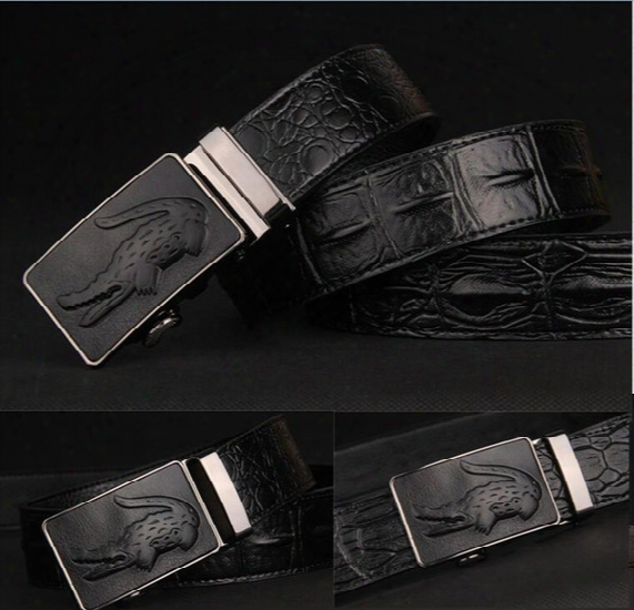 Designer Belts Men High Quality Mens Belts Luxury 100% Crocodile Grain Belts Automatic Buckle Business Men Belt 110-125cm