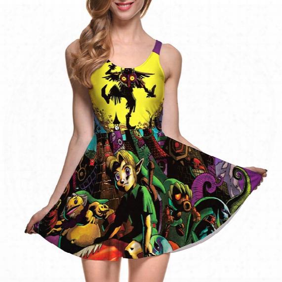 Dress Plus Size S-4xl 2016 New Fashion Joker Dress Cartoon Printing Dress Se Xy Sleeveless Vest Dresses 22 Style