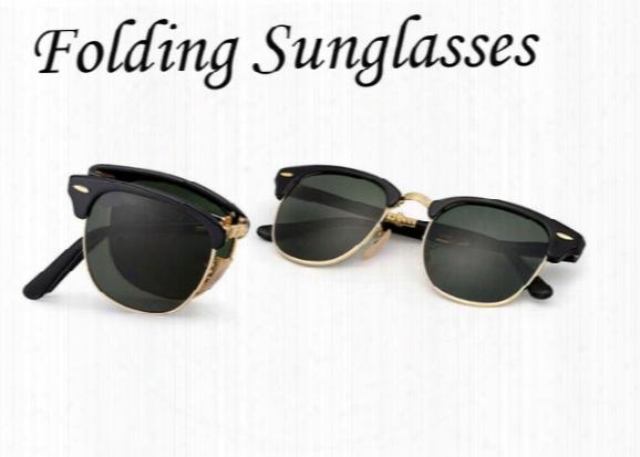 Folding Model Sunglasses Soscar Authentic Brand Designer Sunglasses 51mm Plank Frame Glass Lenses With Metal Hinge Free Shipping