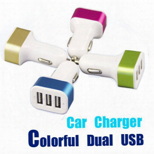 Free Dhl,for Iphone 6 Car Charger Traver Adapter Car Plug Hot Selling Triple 3 Usb Ports Car Charger Without Package(4 Color)