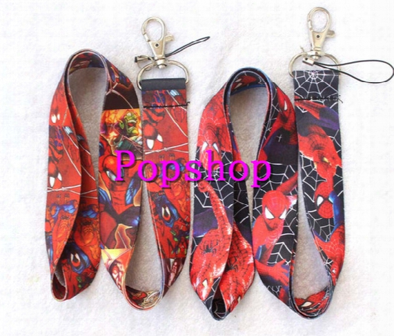 Free Shipping 100 Pcs Mix 2 Style Cartoon Super Hero Red Spiderman Lanyards Keys Camera Id Card Lanyard Mobile Phone Neck Straps