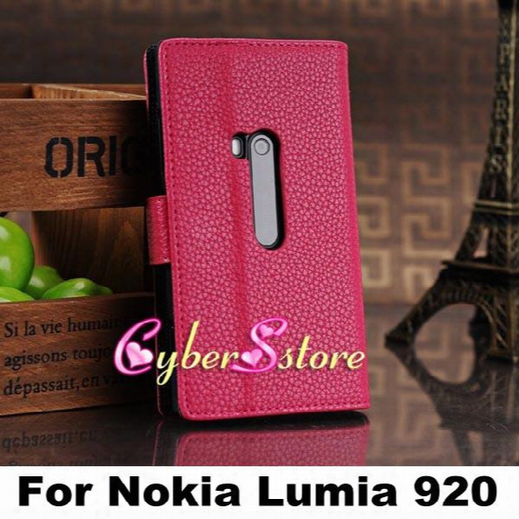 High Quality Lychee Wallet Flip Folio Card Slot Slots Pouch Stand Leather Case Cover For Nokia Lumia 920