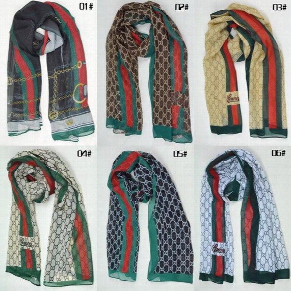 In Stock! 6 Styles New Arrived Fashion Scarves 161*51cm G Brand Luxury Scarves Woman Summer High Quality Free Shopping