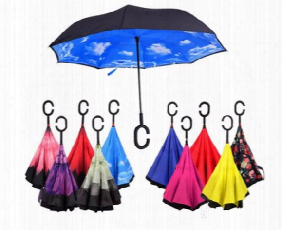 Inverted Umbrella Windproof Reverse Fol Ding Double Layer Self Stand Inside Out Rain Protection C Hook Hands For Car