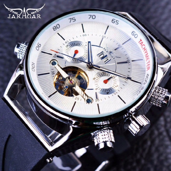 Jaragar Shark Lines Design Rubber Band Tourbillion Display Calendar Mens Watch Fashion Sport Brand Luxury Watch Automatic Mechanical Watch