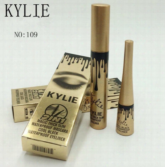 Kylie Jenner Cosmetics Makeup 3d Fiber Eyelashes Extension Masacra+ Gel Eyeliner 2 In 1 Sets Waterproof