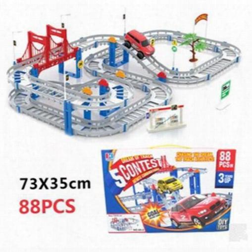 Large Track Rail Car Diy Toy Car Model Electronic Kids Toys Multilayer 73*35cm