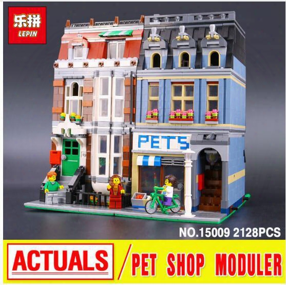 Lepin 15009 City Street Pet Shop Model Building Kits Blocks Bricks Assembling Toys Compatible 10218