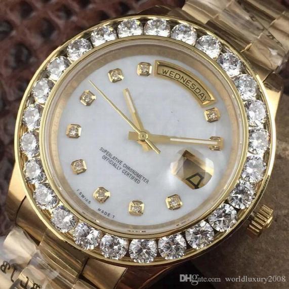 Luxury Big Diamond Golden Silver Automatic Mens Womens Watch Day-date Diamonds Bezel White Black Dial Jewel Mans Watches