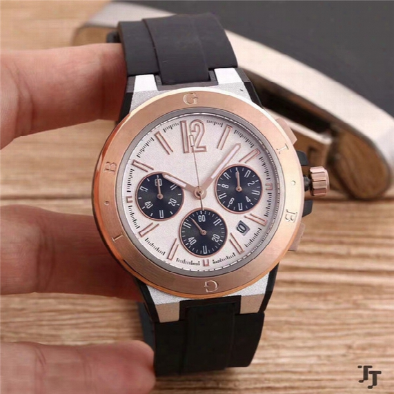 Luxury Mens Watch Quartz Stopwatch Top Sell Chronograph Watches Rubber Bracelet Wrist Watch 013