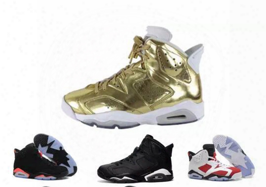 New 2017 Man Basketball Shoes Air Retro 6 Black Cat Angry Bull Carmine Infrared Oreo Maroon Metallic Gold Sport Sneaker Us Size 8-13
