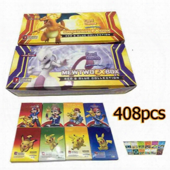 New Sun & Moon Poke Go Trading Cards 408pcs/set Cartoon Anime Poke Card Game For Kids Children Charizard Mewtwo Ex Box Party Board Card Game