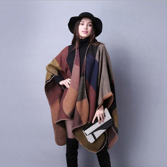 New Women's Winter Poncho Vintage Blanket Women's Lady Knit Shawl Cape Cashmere Scarf Poncho Fashion Accessories