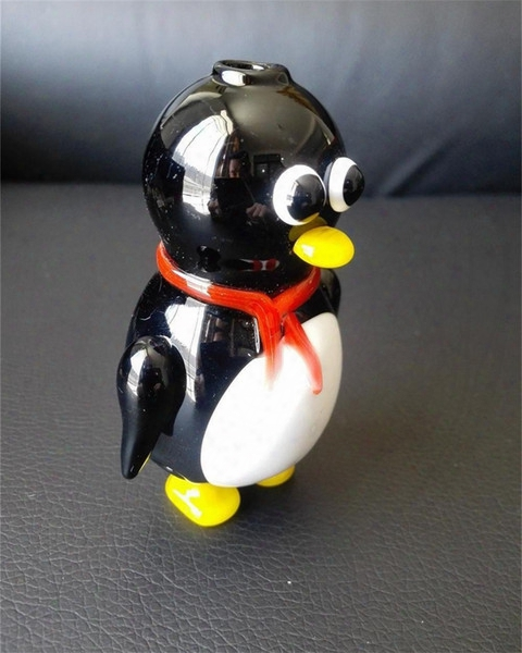 Newest Glass Pipes 2016 New Creative Cute Penguin Pipe Glass Smoking Cartoon Penguin, Black White Stitching Glass Pipes