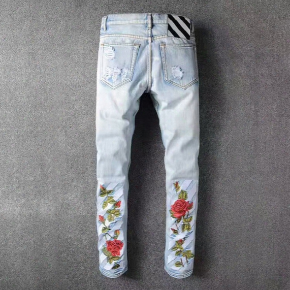 Off-white Rose Striped Jeans Top Quality Embroidery Denim Jeans Ripped Holed Skinny Jean Pants Blue White Cargo Jeans Plus Size Bbg0507