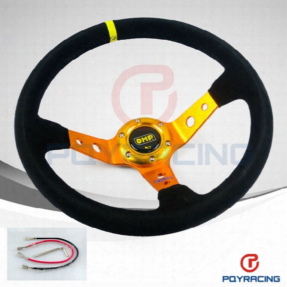 Pqy Store- Gold Steering Wheel Id=14inch 350mm Omp Deep Corn Drifting Steering Wheel / Suede Leather Steering Wheels Pqy-sw21b